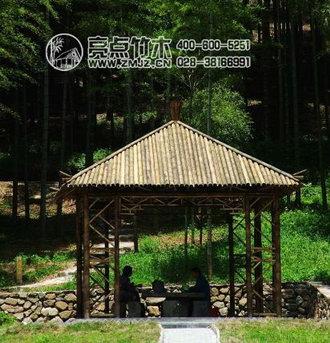 竹亭-独立亭 产品编号:lpt02002 竹亭是以竹子为主体结构的亭子,一般
