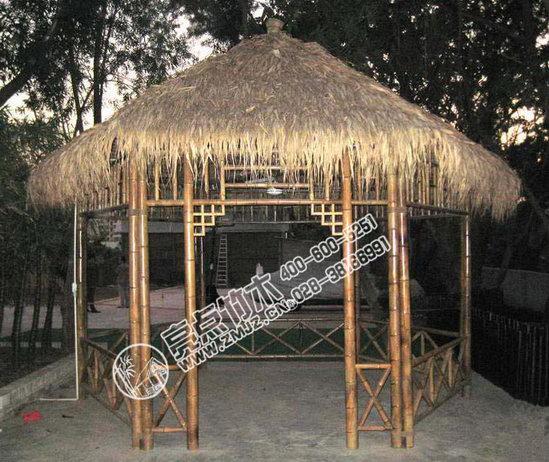 竹亭-独立亭 产品编号:lpt02011 竹亭是以竹子为主体结构的亭子,一般